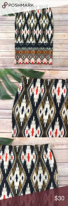 Maeve ikat blue & orange stretch pencil skirt Maeve Anthropologie ikat print stretch pencil skirt, size S. It is free from any rips or stains. It measures about 28 inches around the waist, about 36 inches around the hip and is about 26 inches long. Anthropologie Skirts Pencil