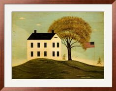 House with Flag, by Warren Kimble