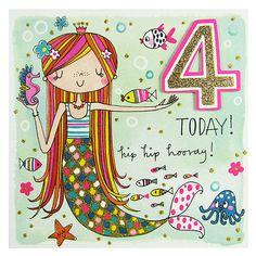Buy Rachel Ellen 4 Today Mermaid Birthday Card Online at johnlewis.com