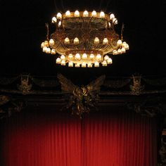 Phantom of the Opera, Broadway stage - that chandelier falling over us was one of the coolest/scariest parts of the play, and we weren't even directly under it!