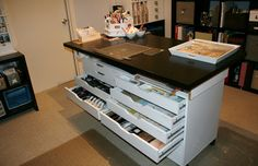 Use 2 Ikea Alex Drawer units - are the interiors of the drawers to hold long sheets of vinyl? Also, would these drawer units fit UNDER my new custom cutting table I am proposing? Craft Room Storage, Room Organization, Craft Rooms, Paper Storage, Storage Ideas, Craft Table Ikea, Ikea Table, Ikea Alex Drawers, Closet Island
