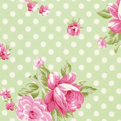 Roses and Mums in Green (pwtw061) - ROSEY by Tanya Whelan - Free Spirit Fabric - 1 yard