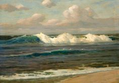 Oil painting seascape - An Expansive Landscape with & ocean waves free shipping #Realism