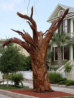 Sculptures on Galveston Island, Texas, carved from trees lost during Hurricane Ike.