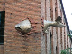 Fish sculpture in building wall.