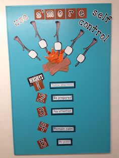 """Use S'more Self Control"" Our school's ""self control"" bulletin board for the Character Strengths. Sports Bulletin Boards, Counselor Bulletin Boards, Summer Bulletin Boards, School Bulletin Boards, Classroom Behavior Chart, School Classroom, Classroom Themes, Elementary Counseling, School Counselor"