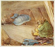 Beatrix Potter, author/illustrator. The Roly-poly Pudding. London, New York: Frederick Warne & Co., 1908. When Tom Kitten goes exploring between the walls of his home (actually Potter's house at Hill Top Farm), he falls through the floor boards into the nest of the rat Samuel Whiskers and his wife Anna Maria. The couple wastes no time tying up the frightened, disoriented kitten so they can turn him into a roly-poly pudding