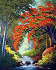 Trendy Painting Canvas Landscape Watercolors Ideas – Keep up with the times. Cool Landscapes, Beautiful Landscapes, Nature Pictures, Art Pictures, Tropical Art, Landscape Art, Valley Landscape, Contemporary Landscape, Beautiful Paintings