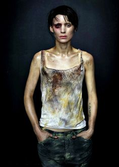 (Rooney Mara in The Girl with the Dragon Tattoo)- pretty much ala my grungy painting shirt