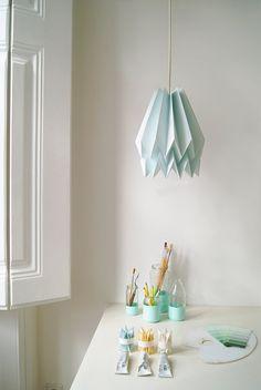 Origami Lamp Plain Mint Blue Design Lamp shade FREE by blaanc