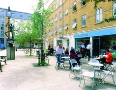Halls, Alexander Fleming, outside cafe terrace. Alexander Fleming, University Of Westminster, Terrace, The Outsiders, Street View, London, Summer, Sidewalk Cafe, Patio