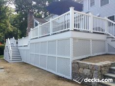 White lattice skirting under a nice deck. Creative Deck Ideas, Deck Skirting, Deck Pictures, Under Decks, Decking Material, Deck Builders, New Deck, Deck Plans, Building A Deck