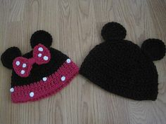 beautiful Mickey and Minnie hats by MadewithlovebyFatima on Etsy, $13.00