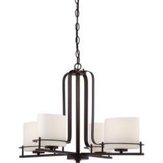 @overstock Nuvo Loren 4-light Venetian Bronze Chandelier - The Loren fixture , finished in Venetian bronze accented by etched opal glass shades. The Loren fixture finds itself at home anywhere a distinctive design touch is needed.  $289.99