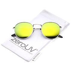 e95b1aa8ebd5 Amazon.com  zeroUV - Retro Metal Frame Thin Temples Colored Mirror Lens  Round Sunglasses 50mm (Gold   Gold Mirror)  Clothing