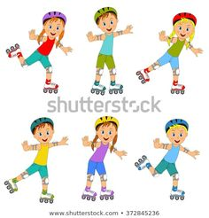 271327a6cdb children,boys and girls on roller skates collection on a white  background,illustration,