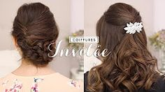 coiffure mariage cheveux mi long - YouTube
