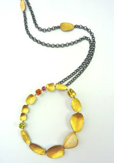 Pebble Circle necklace-- Ethiopian opal, Sydney Lynch: yellow beryl, mandarin garnet, peridot, pink tourmaline set in 22k gold and oxidized sterling