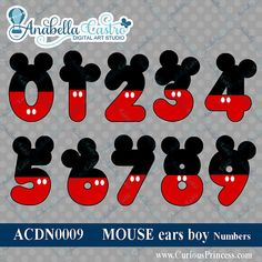 Mickey Mouse inspired numbers