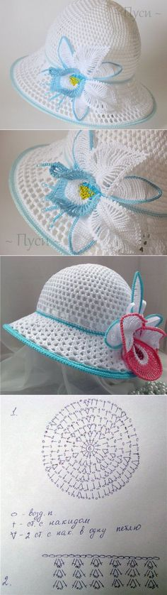 This Pin was discovered by Riz Crochet Summer Hats, Crochet Cap, Crochet Stitches, Baby Knitting Patterns, Crochet Patterns, Sombrero A Crochet, Crochet Woman, Crochet Accessories, Beautiful Crochet