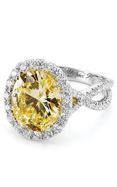 Wow! Fancy Yellow Oval engagement ring with twisted band.  Michael M | R454 | Moyer Fine Jewelers