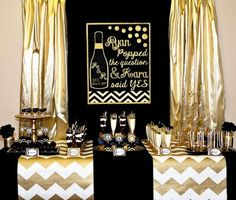 Gold And Black Bridal Shower decorations, Gold And Black Bridal Shower theme, Gold And Black Bridal Shower ideas, Gold And Black Bridal Shower invitations Party Decoration, Bridal Shower Decorations, Black Gold Party, Bubbly Bar, Mimosa Bar, Silvester Party, Gold Bridal Showers, 50th Birthday Party, 30th Party