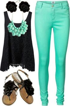 Casual Outfit and I heart the mint skinny jeans! Cute Teen Outfits, Teen Fashion Outfits, Mode Outfits, Cute Fashion, Look Fashion, Outfits For Teens, Casual Outfits, Summer Outfits, Womens Fashion