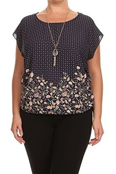 Vialumi Womens Plus Size Cap Sleeve Flower Print Necklace Top Navy Blue 3X -- Be sure to check out this awesome product.Note:It is affiliate link to Amazon.