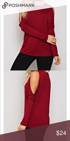 🆕 chic cut shoulder top Chic cold shoulder top PLEASE Use the Poshmark new option you can purchase and it will give you the option to pick the size you want ( all sizes are available) BUNDLE and save 10% ( no trades price is firm unless bundled) Tops