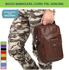 Bolsos hombres Casual Men diseño original clasico cuero genuino piel vacuno que es tendencia de moda.