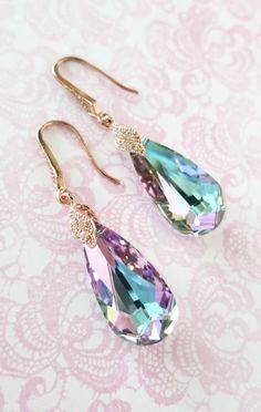 Rose Gold Vitrail Light Purple Faceted Teardrop Crystal earrings, Pink Peacock Wedding Bridal earrings, brides Bridesmaid, by ColorMeMissy, www.colormemissy.com
