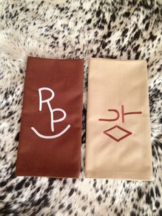 His & Hers kitchen towels with their ranch Brand added. Great personal gift. Available at www.heatherswildrags.com