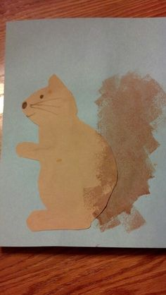 Squirrel craft. Trace onto brown construction paper. Cut & glue onto colored paper. Used regular brown tempera paint and sponges for tail. Would be cool to use the glue/paint/shaving cream technique with sponges for a fluffy looking tail. (That takes longer to dry.) Don't forget to add an acorn or apple in his paw!