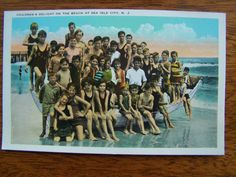1940's Vintage Postcard CHILDREN on Lifeboat at Beach Sea Isle City NJ MINT