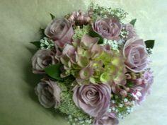 Handtied bouquet of Memory lane roses, hydrangea and bouvardia