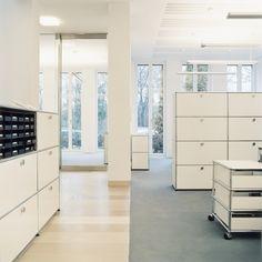 USM Haller Modular Furniture Modular Furniture, Office Furniture, Interior Architecture, Interior Design, Office Environment, Modular Design, Bookcases, Visual Merchandising, Timeless Design