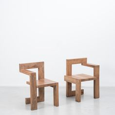 """Wooden steltman"" by Gerrit Rietveld. 1963. designed two chairs in a mirror image of one another, where clients could sit when they selected their jewellery, so there is both a left-handed and right-handed chair."