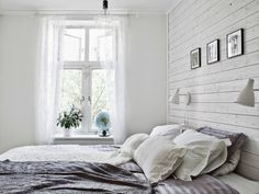 Scandinavian style bedroom – white stained wall cladding by jenniverkofler Interior Cladding, Wall Cladding, Scandinavian Style Bedroom, White Wood Paneling, Country Style Homes, White Bedroom, Bedroom Country, Bedroom Decor, Interior Design