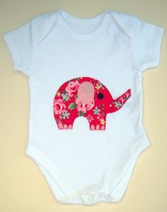 Elephant Babygro / Bodysuit / Baby Shirt / All in One / Girls Baby Clothes / New Baby