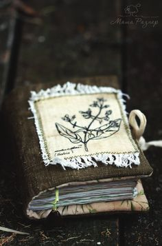 Sage Aroma Soft Notebook with Herbs - Textile Eco Diary Journal Green