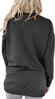 c9b6cb9baf7 Podlily Women's Autumn Round Neck Pockets Long Sleeve Sweatshirt Tops Tunics  Small Black at Amazon Women's Clothing store: