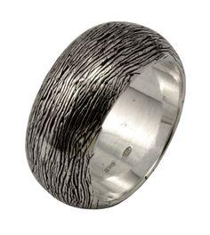 Arfasatti Solid Sterling Silver 925 D Shape Ring Grain of Wood for Man Woman Handmade in Italy.Arfasatti Anello Fascia Bombata in Argento 925 Venature Legno Uomo Donna Fatto a Mano in Italia