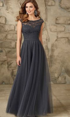 Dark Gray Long Lace Bridesmaid Dresses UK KSP401