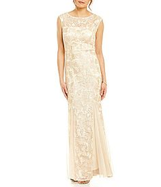Alex Evenings CapSleeve Embroidered Gown #Dillards