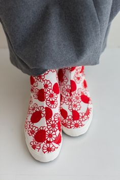 Tabi Round Toe Shoes Chrysanthemum and Dots $110.00