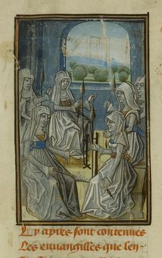 Ms 654/1572 f.1r Group of Women Spinning, from 'Les Evangiles des Quenouilles. Les Advineaux Amoureux' (vellum) (detail of 209924), French School, (15th century) / Musee Conde, Chantilly, France