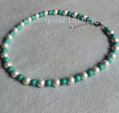 white and turquoise pearl Necklace 8mm and 10mm glass bead