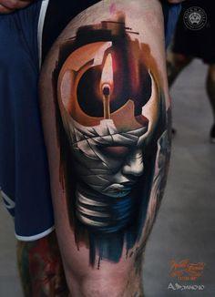Burning Stick In Bulb Head Tattoo On Leg