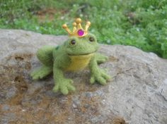 Needle Felted Frog Prince by WhisperingWoods on Etsy