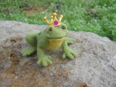 Needle Felted Frog Prince